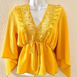 Mustard Yellow Flowy Sleeve crochet Top